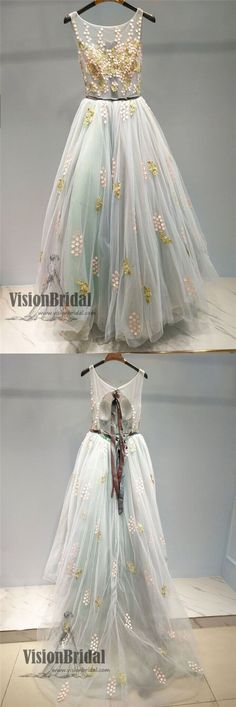 Unique Scoop Neckline Tulle Applique Long Prom Dress, Beautiful Prom Dress, Prom Dresses, VB0303 #promdress
