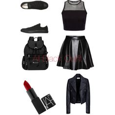 All Black by tomboygirly184 on Polyvore featuring polyvore, fashion, style, Balenciaga, Converse and Sherpani