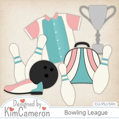 Bowling League - Sports Layered PSD Templates with PNG by Kim Cameron for Digital Scrapbooking #CUDigitals