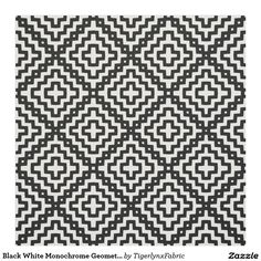 Customisable Black White Monochrome Geometric Tribal Pattern Fabric by Tigerlynx Fabric, from Zazzle. Pattern Fabric, Consumer Products, Plates On Wall, Quilting Projects, Custom Fabric, Printing On Fabric, Print Patterns, Monochrome
