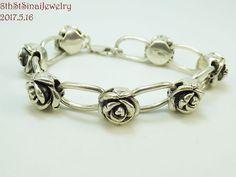 """Sterling Silver 925 3D Roses & Oval Link Bracelet 7-3/4""""L x 1/2""""W 20.3 Grams #Unbranded #Statement"""