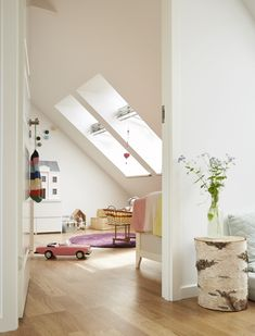 Create a kids playroom or an extra bedroom in a loft conversion. Add velux roof windows for all that extra daylight and ventilation Attic Bedroom Designs, Attic Bedrooms, Bedroom Loft, Dormer Bedroom, Kids Bedroom, Loft Playroom, Modern Playroom, Playroom Ideas, Loft Storage