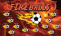 Fireballs-154744  digitally printed vinyl soccer sports team banner. Made in the USA and shipped fast by BannersUSA. www.bannersusa.com