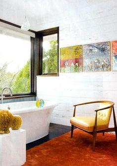 Bathroom.  Darling little mid-century modern chair.