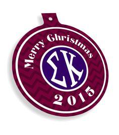 Sigma Kappa Chevron Christmas Ornaments  from GreekGear.com