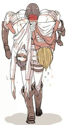 Eren, Mikasa & Armin - Attack on Titan - Shingeki no Kyojin. That a girl mikasa, u show them Manga Anime, Fanarts Anime, Attack On Titan Funny, Attack On Titan Fanart, Erin Attack On Titan, Aot Gifs, Eren X Mikasa, Hxh Characters, Ereri