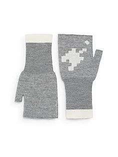 Band of Outsiders Fingerless Wool Gloves - Heather Grey - Size No Size