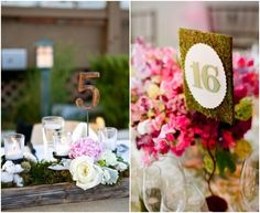 Wedding Reception Table Numbers  The one on the left I like to put in the flowers