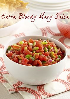 Spice up the weekend with this tomato salsa recipe! Made with olives, horseradish, hot pepper sauce and Worcestershire sauce for an extra kick!