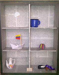 """""""Venezuela quedó Atrás"""".  Collage. Caja/Arte. Caja de Madera conteniendo objetos. Cerámica. Tela. Metal."""