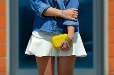#white #skirt #denim #blouse #yellow #clutch #fashion #streetstyle #street #style #fashionblogger #summer #look #casual #outfit àvogueforbreakfast