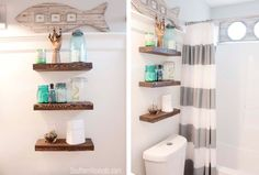 Hanging shelves Planter Bathroom Wall Decor 76 Ways To Decorate A Small Bathroom Shutterfly inside ucwords] Elegant Bathroom Decor, Bathroom Shelf Decor, Bathroom Ideas, Bathrooms Decor, Office Bathroom, Bathroom Fixtures, Bathroom Interior, Bathroom Storage, Images Of Small Bathrooms