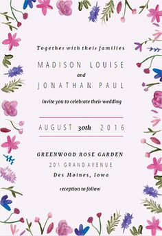 watercolor flowers printable invitation template customize add text and photos