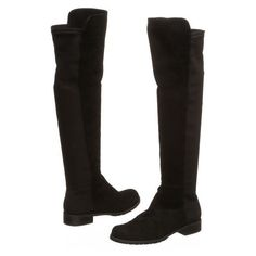 Pre-Owned Stuart Weitzman Black Suede Knee-High Boots ($275) ❤ liked on Polyvore featuring shoes, boots, black, suede boots, knee high boots, black knee boots, suede high heel boots and black suede knee high boots