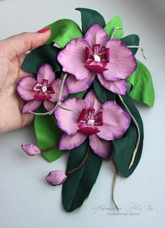 Leather flower Orchid pink Orchid corsage flower leather