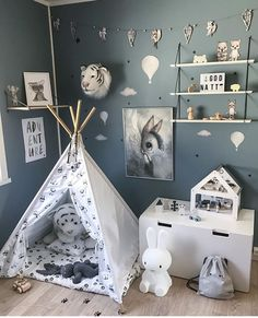 Kids black and white scandinavian teepee with pandas to buy on Etsy - HappySpacesWorkshop - boys room ideas, indoor outdoor playtent, wigwam, tipi, tepee, boys grey and white room