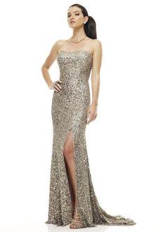BG Haute - E01015 Strapless Sweetheart Sheath Dress in Gray