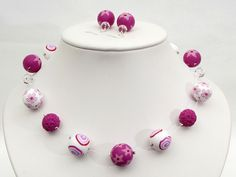 Orchidee necklace and earring from Polymer Clay, fimo, arcilla Lampwork Designer Kette von filigran-Design   auf DaWanda.com