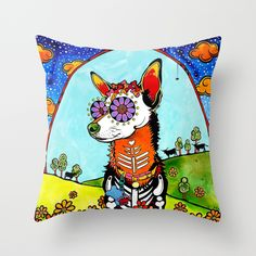 Chihuahua and Texas Longhorn Throw Pillow