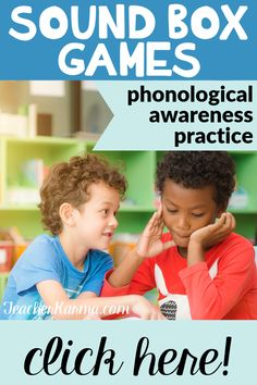 Sound Box activities and games will help your students blend sounds segment words and isolate phonemes. Perfect to improve phonological awareness and beginning reading. Teaching First Grade, Teaching Kindergarten, Teaching Resources, Teaching Ideas, Preschool, Resource Room Teacher, Blending Sounds, Vocabulary Activities, Music Activities