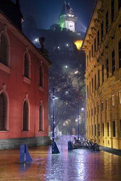 Rainy night in the city by Michael Dawes|#Graz, Styria, Austria