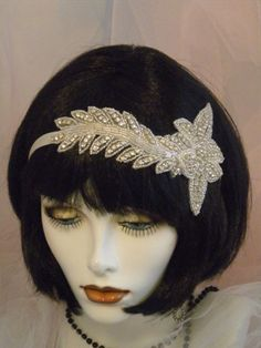 1920s  Headpiece, Flapper Headband,  Gatsby, Crystal, Rhinestones, Ivory, Vintage, From the Studio of EV , No. 52