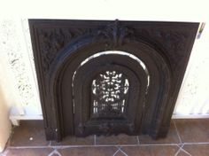 Antique Fireplace Surround with Summer Cover Cast Iron   eBay
