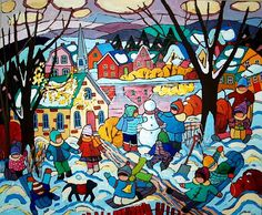 EARLY SNOWFALL 30x36 in. acrylic on canvas by Canadian UNICEF artist Terry Ananny