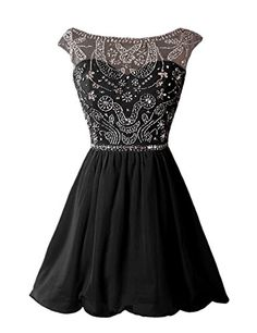 []  Dressystar Short Homecoming Party Dress Sparkling Bateau Prom Evening Gowns Size 14 Black []---