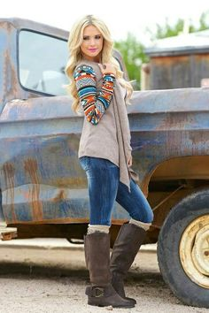 Love aztec detail on the sleeve of this sweater cardigan. So adorable paired with a nice pair of boots