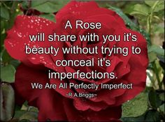 In nature, the 'perfect rose' does not exist….  Value those personal traits which you may feel that you wish to conceal, change or improve upon, just as much as those highlights which you deem to be your positive attributes.
