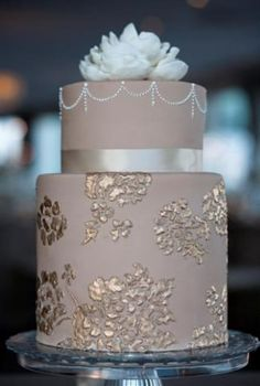 Gold and taupe combo wedding cake.