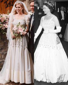 Norman Hartnell, Princesa Beatrice, Princess Beatrice Wedding, Princess Eugenie, Royal Brides, Royal Weddings, Windsor, Eugenie Of York, Taffeta Dress