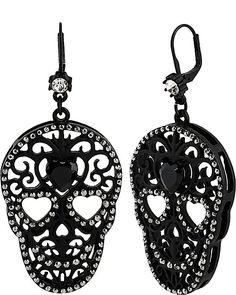 BLACKOUT FILIGREE SKULL DROP EARRINGS BLACK accessories jewelry earrings  fashion  7810fc4250e7