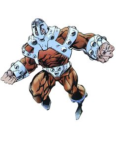 """Bulldozer (Henry Camp) (Human/Mutate) (Topeka, Kansas, U.S.A.) Criminal; former U.S. Army Master Sergeant. Superhuman strength (can lift 10 tons) speed (can run at 60 m.p.h.) stamina, durability. Specially-made armoured helmet, neck, shoulder apparatus. Basic US army training in hand-to-hand combat, usually uses helmeted head for butting. 6' 4"""" tall."""
