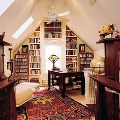 Small home library designs are modern interior decorating ideas that provide pleasant and quiet small rooms and nooks for reading. Home library design offers well organized and attractive book storage Cozy Home Library, Home Library Design, Home Office Design, Attic Library, Attic Office, Library Ideas, Attic Design, Library Corner, Dream Library