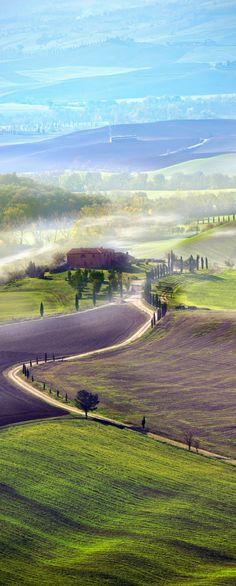 Countryside road in Tuscany, Italy.