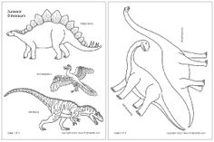 Dinosaur templates (coloring pages) with great educational content