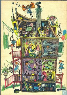 Solve Pippi Longstocking House - Astrid Lindgren jigsaw puzzle online with 140 pieces Writing Pictures, Pippi Longstocking, Children's Book Illustration, Vintage Children, Childrens Books, Art For Kids, Book Art, Fairy Tales, Paper Dolls