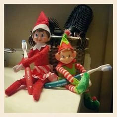 Elf on the Shelf brushing teeth. After eating some treats from the cookie jar, Twinkle and Jingles decided that they should probably brush their teeth, unfortunately using mine and Adam's toothbrushes!  Yuck! Luckily, the Norwex toothbrushes contain silver in the heads which naturally kills bacteria, so Adam and I won't have to worry about getting any Elf germs when we brush our teeth with those brushes later tonight! Yes!!