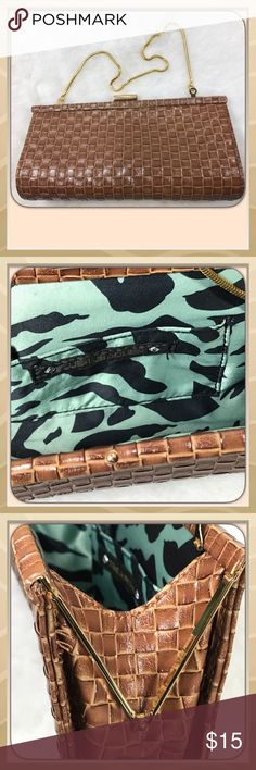 Steve Madden Clutch Purse Steve Madden Clutch with gold chain handle, clasp and frame, chain can be folded inside,  brown man made material. Steve Madden Bags Clutches & Wristlets