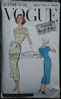 Vogue Special Design 4788 1950s 50s Wiggle by EleanorMeriwether