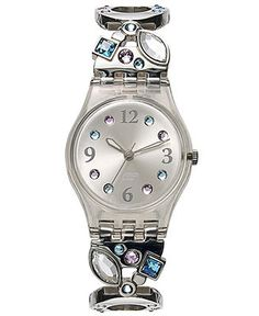 Swatch Watch, Women's Swiss Menthol Tone Stainless Steel Link Bracelet 25mm LK292G - Women's Watches - Jewelry & Watches - Macy's