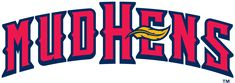 Toledo Mud Hens Wordmark Logo (2006) - Mud Hens in red with navy outline and yellow feather over E