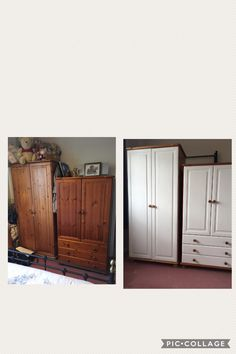 Final pieces of furniture painted. Painted fronts and drawers with Rustoleum Chalk White chalk paint.