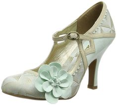 Amazon.com: Ruby Shoo Women's Cindy Mint and Gold Mid Heel Court Shoe: Clothing