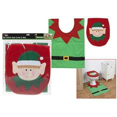 Elf Toilet Seat Cover And Mat Set In Polybag W/header Card Listing in the…