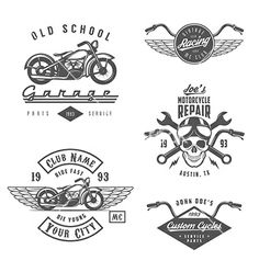 Set of vintage motorcycle design elements vector by ivanbaranov on VectorStock®