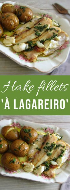 Hake Fillets A Lagareiro Food From Portugal - Want To Innovate And Give A Traditional Touch To A Fish Recipe Try To Make Our Recipe Of Hake Fillets A Lagareiro Fillets That Goes To The Oven With Potatoes Drizzled With A Delicious O Hake Recipes, Seafood Recipes, Cooking Recipes, Healthy Recipes, Food C, Good Food, Air Fryer Fish Recipes, Portuguese Recipes, Fish Dishes