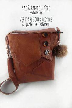 Sac en cuir recyclé à bandoulière ajustable Messenger Bag, Satchel, Canada, Crafts, Etsy, Purse, Recycled Leather, Couture Sac, Fur
